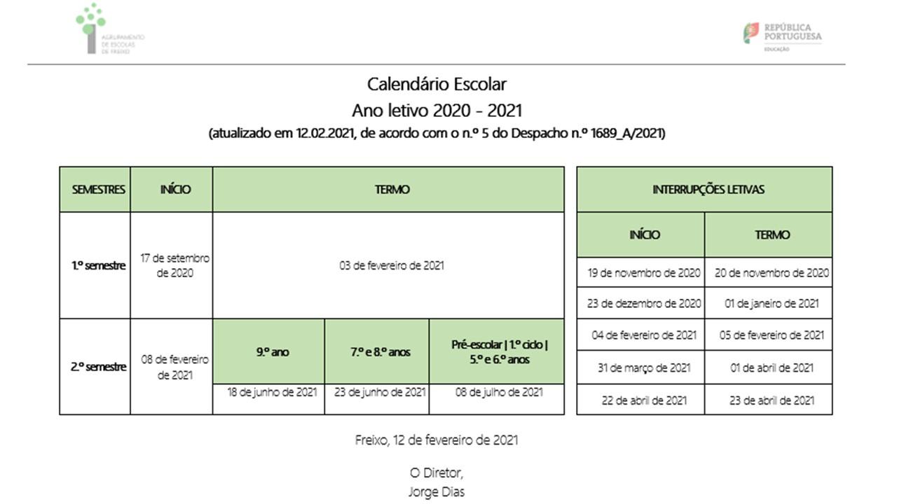 Calendário escolar atualizado